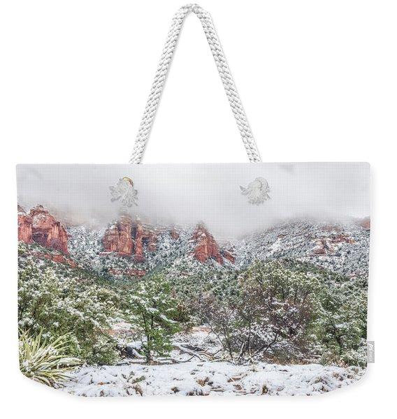 Snow On Red Rock Weekender Tote Bag