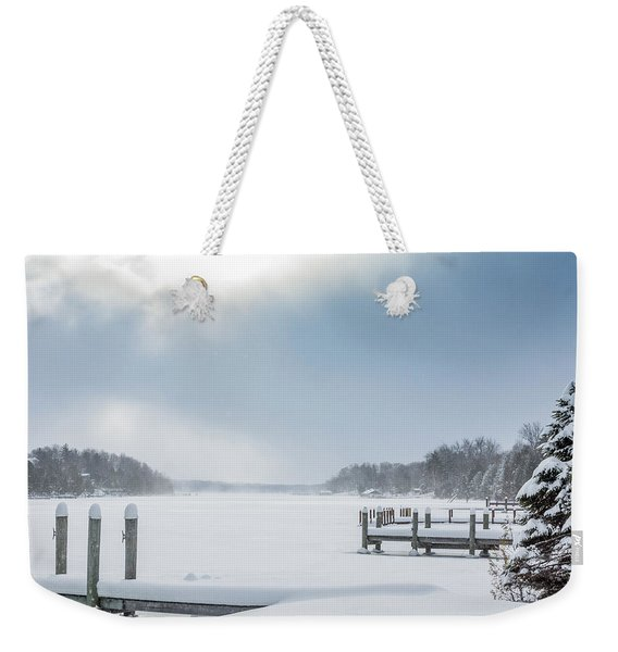 Snow On The Lake Weekender Tote Bag