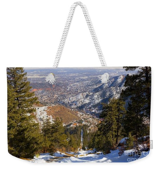 Snow On The Manitou Incline In Wintertime Weekender Tote Bag