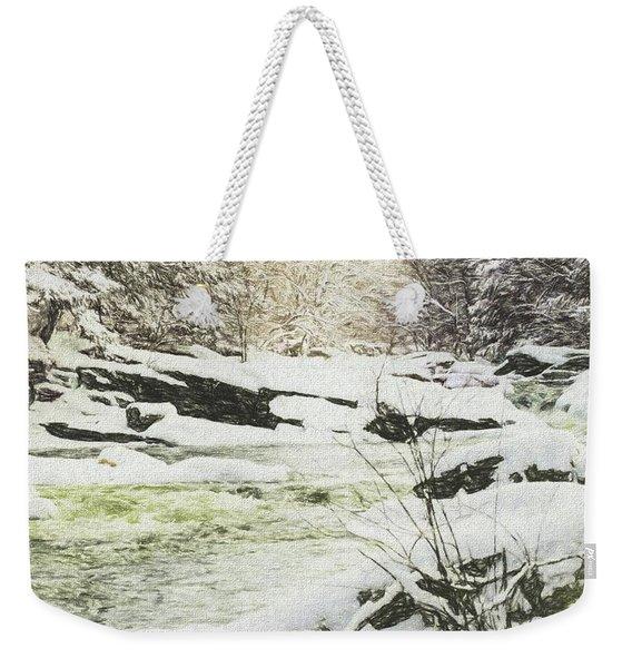 Snow On The Natchaug Weekender Tote Bag
