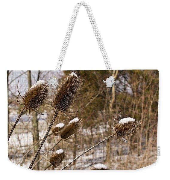 Snow On The Seed Cones Weekender Tote Bag