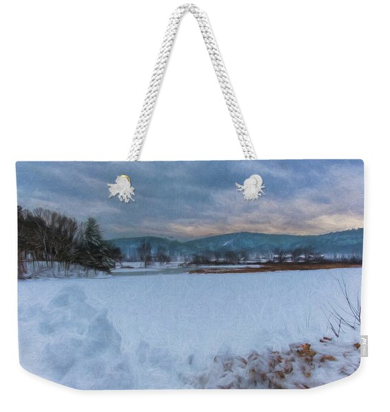 Snow On The West River Weekender Tote Bag