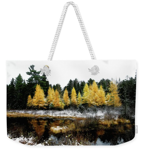 Weekender Tote Bag featuring the photograph Snow Paints Larch Grove by Wayne King