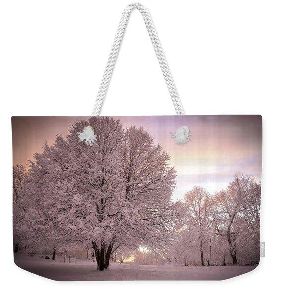 Snow Tree At Dusk Weekender Tote Bag