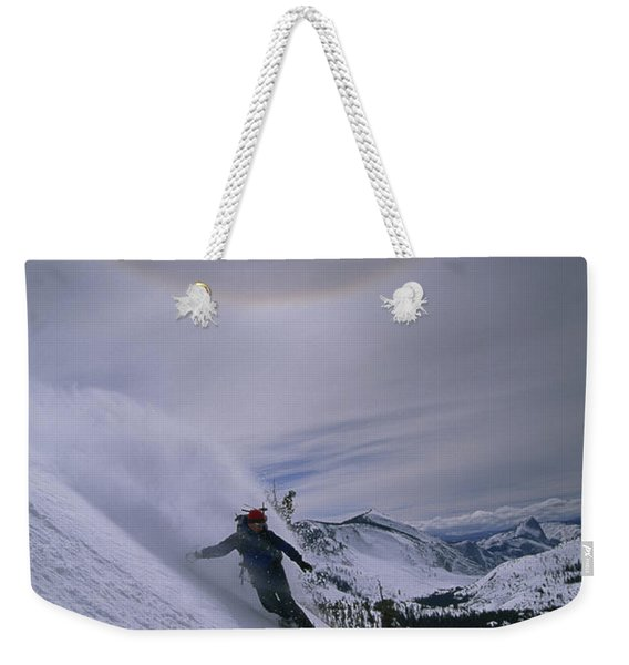 Snowboarding Down A Peak In Yosemite Weekender Tote Bag