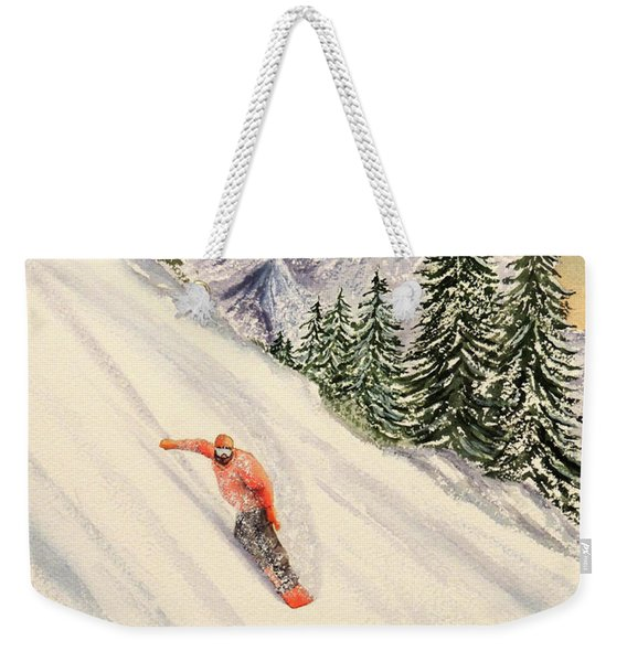 Snowboarding Free And Easy Weekender Tote Bag