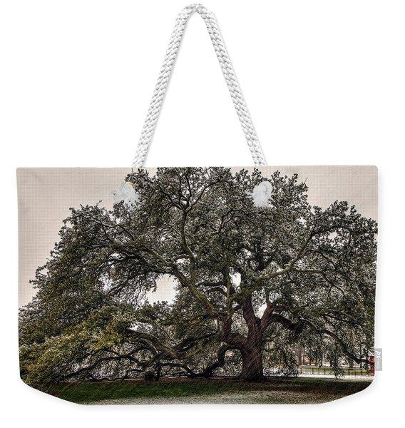 Snowfall On Emancipation Oak Tree Weekender Tote Bag