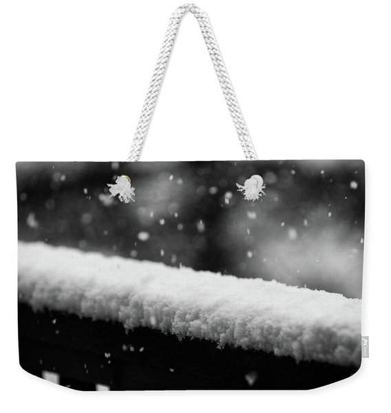 Weekender Tote Bag featuring the photograph Snowfall On The Handrail by Jason Coward