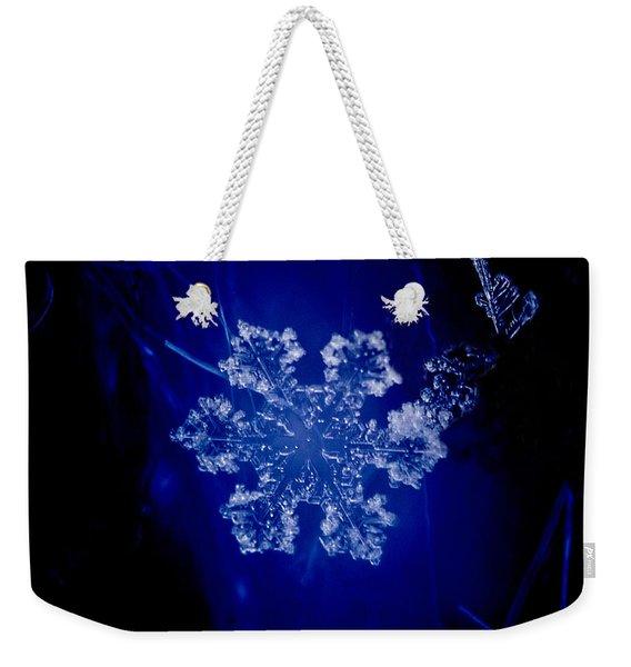 Snowflake On Blue Weekender Tote Bag