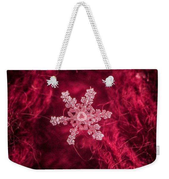 Snowflake On Red Weekender Tote Bag