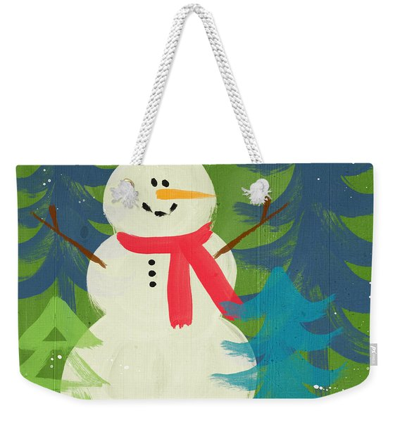Snowman In Red Hat-art By Linda Woods Weekender Tote Bag
