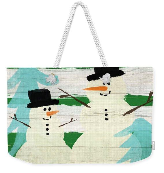 Snowmen With Blue Trees- Art By Linda Woods Weekender Tote Bag