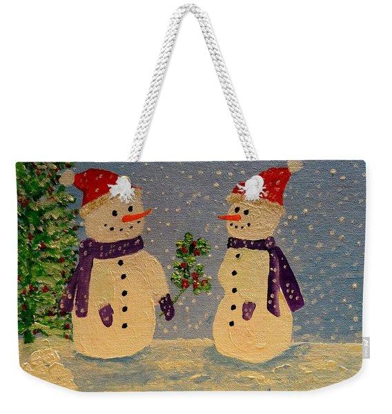 Snow-people At Christmas Weekender Tote Bag