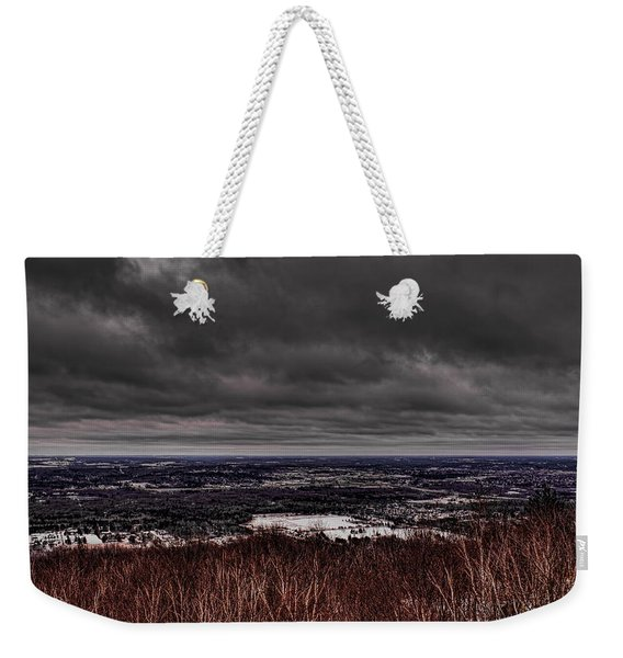 Snowstorm Clouds Over Rib Mountain State Park Weekender Tote Bag