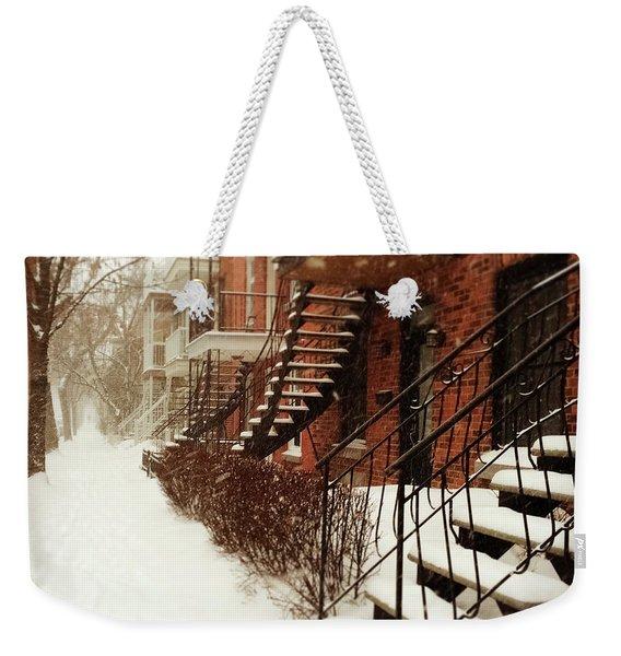Snowstorm In Montreal Weekender Tote Bag