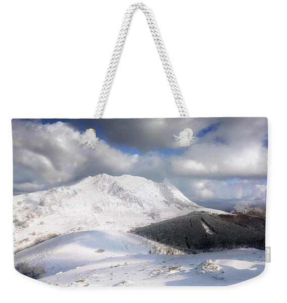 snowy Anboto from Urkiolamendi at winter Weekender Tote Bag