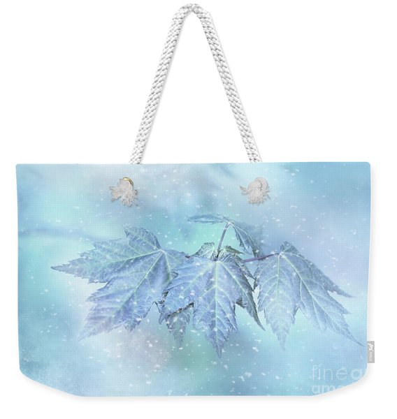 Snowy Baby Leaves Weekender Tote Bag
