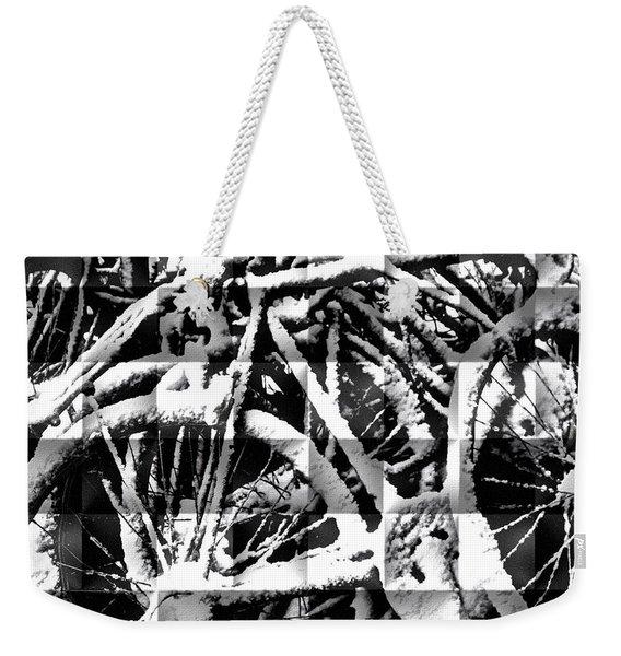 Snowy Bike Weekender Tote Bag