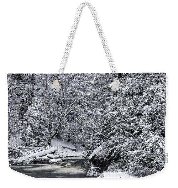 Snowy Blackwater Weekender Tote Bag