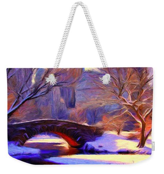 Snowy Central Park Weekender Tote Bag