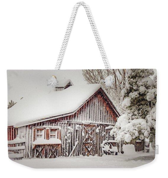 Snowy Country Barn Weekender Tote Bag