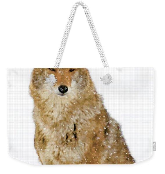 Snowy Coyote Weekender Tote Bag