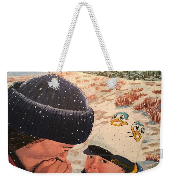 Snowy Day With My Dad Weekender Tote Bag