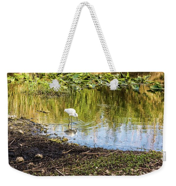 Snowy Egret Reflections Weekender Tote Bag