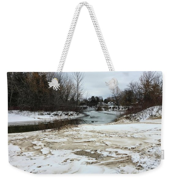 Snowy Elk Rapids River Weekender Tote Bag
