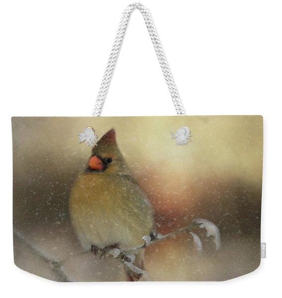 Snowy Female Cardinal Weekender Tote Bag