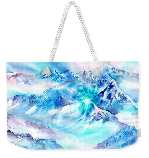 Snowy Mountains Early Morning Weekender Tote Bag