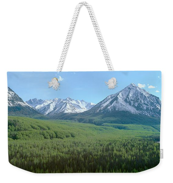 Snowy Mountains, Green Forests Weekender Tote Bag