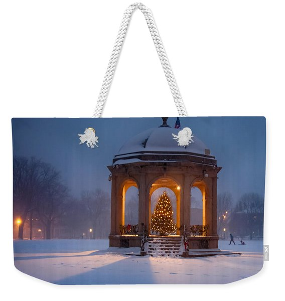 Weekender Tote Bag featuring the photograph Snowy Night On The Salem Common by Jeff Folger