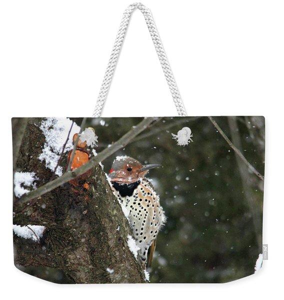 Snowy Northern Flicker Weekender Tote Bag