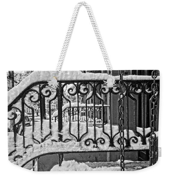 Snowy Nyc Steps Weekender Tote Bag