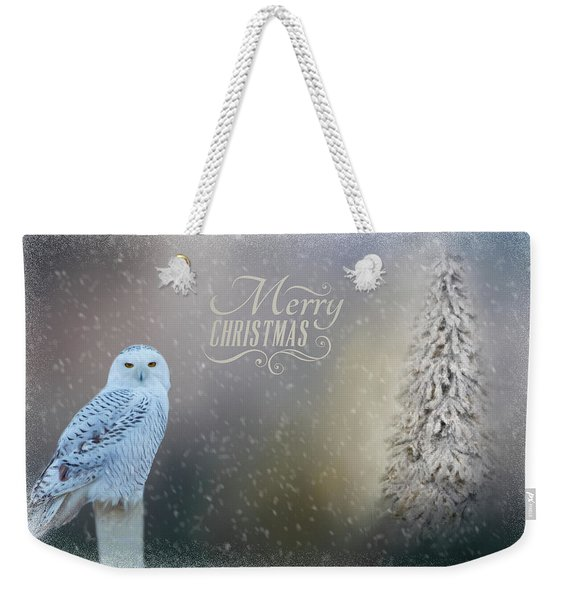Snowy Owl Christmas Greeting Weekender Tote Bag