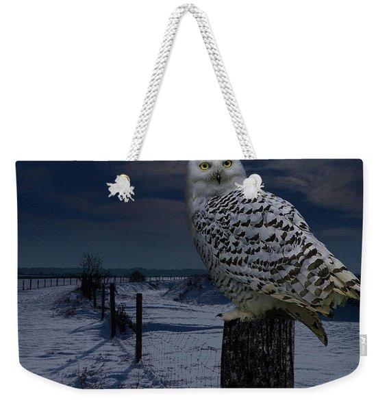 Snowy Owl On A Winter Night Weekender Tote Bag