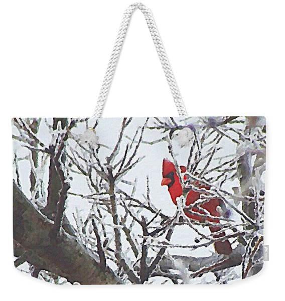 Snowy Red Bird A Cardinal In Winter Weekender Tote Bag