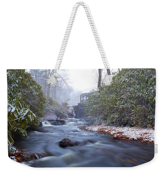 Weekender Tote Bag featuring the photograph Snowy River And Waterfall by Brian Hale