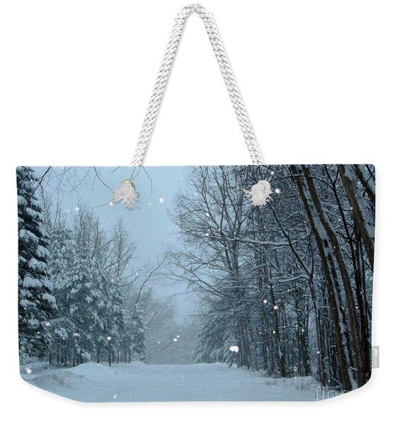 Snowy Street Weekender Tote Bag