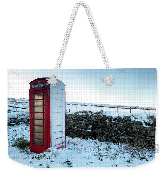 Snowy Telephone Box Weekender Tote Bag
