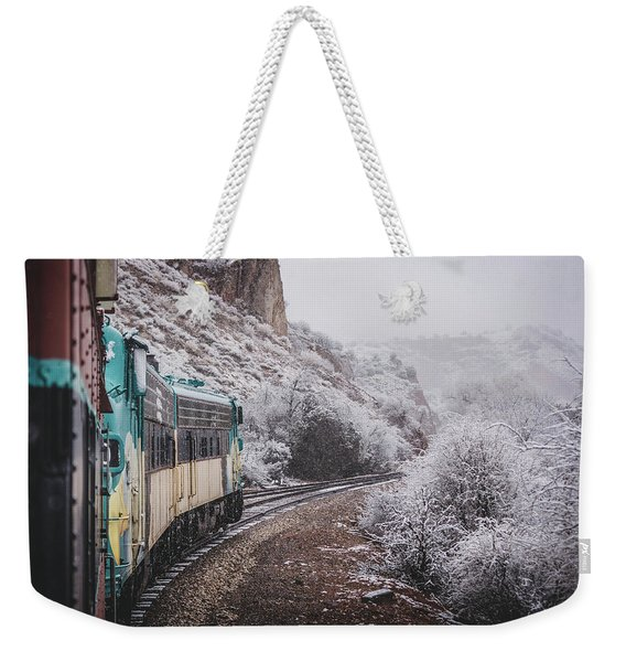 Weekender Tote Bag featuring the photograph Snowy Verde Canyon Railroad by Andy Konieczny