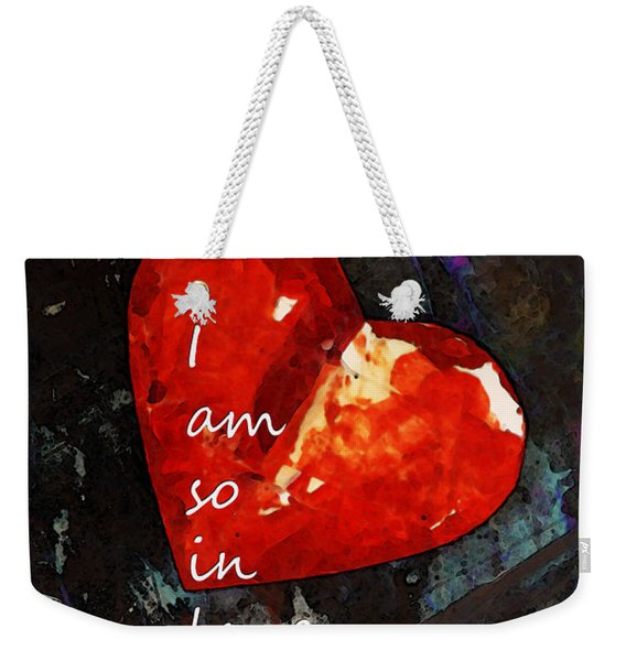 So In Love With You - Romantic Red Heart Painting Weekender Tote Bag