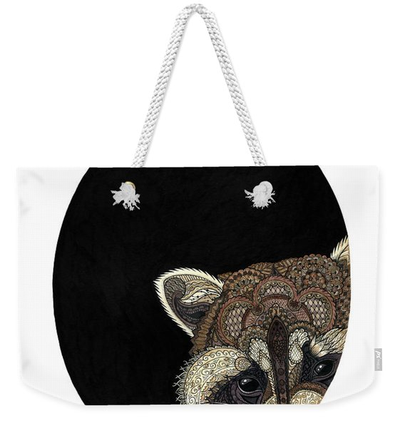 Weekender Tote Bag featuring the drawing Socially Anxious Raccoon by ZH Field