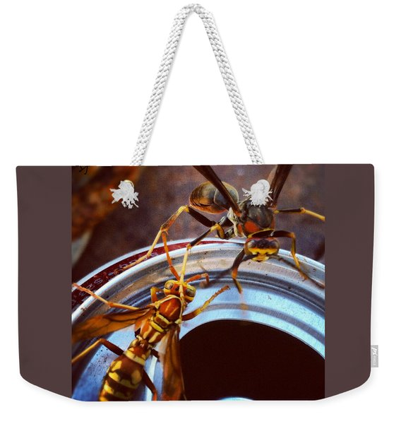 Soda Pop Bandits, Two Wasps On A Pop Can  Weekender Tote Bag
