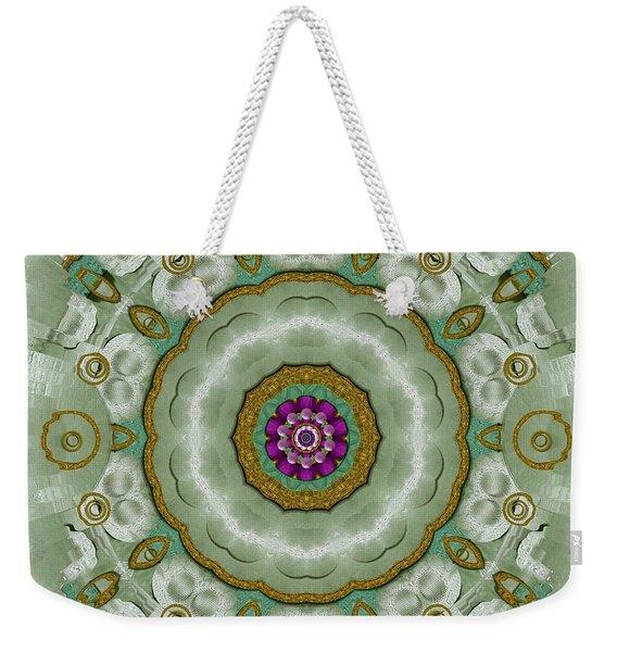 Soft And Sweet Lotus Floral In Greens Weekender Tote Bag