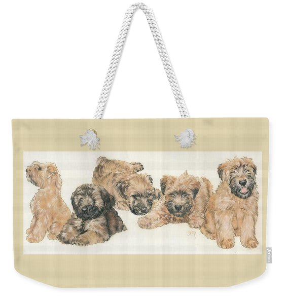 Weekender Tote Bag featuring the mixed media Soft-coated Wheaten Terrier Puppies by Barbara Keith