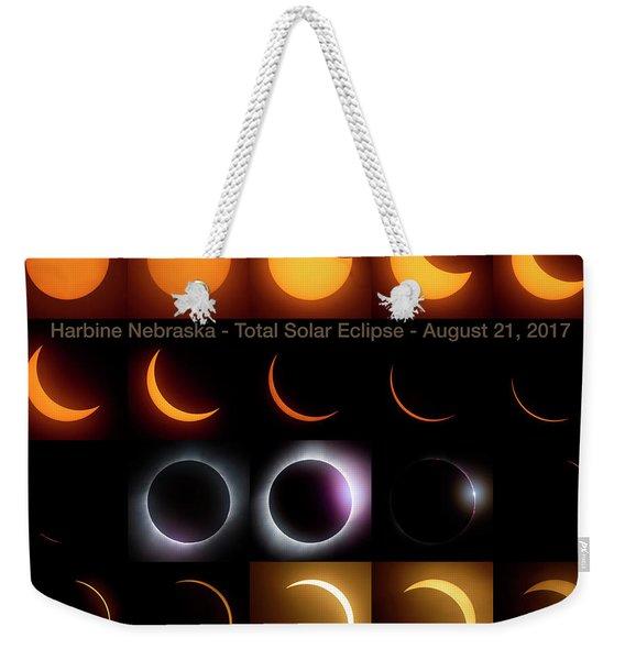 Solar Eclipse - August 21 2017 In Harbine Nebraska Weekender Tote Bag