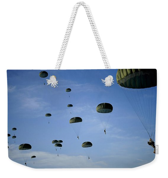 Soldiers Descend Under A Parachute Weekender Tote Bag