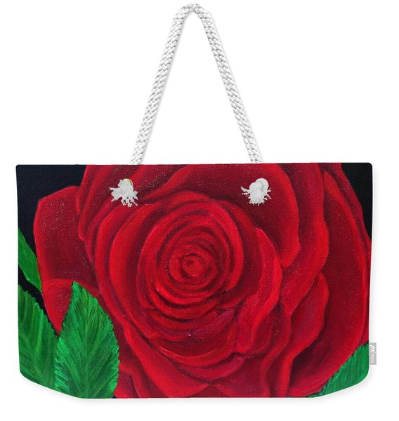 Solitary Red Rose Weekender Tote Bag